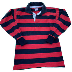 Barbarian Rugby style red and black striped polo shirt Size 40 Large