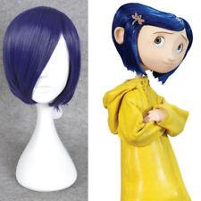 Coraline Cosplay Wig Short Bob Straight Purple Hair Halloween Full Wigs+gift