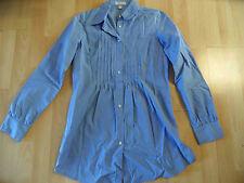 MARIE LUND schöne lange Bluse m. Biesen hellblau Gr. 34 TOP MD316