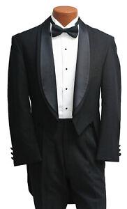 Men's Black Oscar de la Renta Tuxedo Tailcoat Formal Mardi Gras Tails Halloween