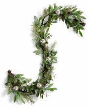 Martha Stewart Lightly Frosted Garland w/ Mercury Glass Balls Christmas Decor