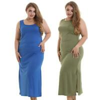 Plus Size Women Dresses Stretch Low Split O Neck Sleeveless Summer Dress