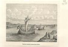 Vaisseaux Normands drakkars rivière sous Charles II le Chauve 840 GRAVURE 1883