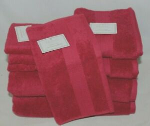 Hotel Luxury Linen Collection Cranberry Red Eight Piece Bathroom Towel Set NWT