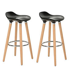 Lot de 2 Tabourets de Bar Cuisine Scandinaves Chaise de Bar Haute Noir Plastique