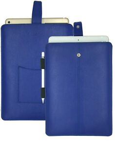 For Apple iPad Pro 12.9 Sleeve Blue Faux Leather NueVue Sanitizing Screen Cleans