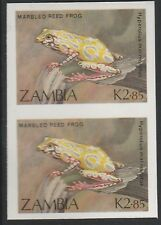 Zambia (1917) - 1989 Reed Frog IMPERF PAIR unmounted mint
