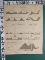 1805 Datato Antico Stampa ~Canali~ Vari Esempi Diagrammi