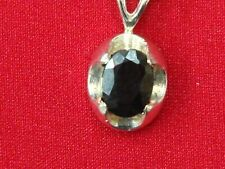 """STERLING SILVER SAPPHIRE NECKLACE GENUINE 1 CT SAPPHIRE 925 18"""" CHAIN *MUST SEE*"""