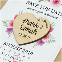 PERSONALISED Wooden Save The Date Magnets - Floral Save The Date Calendar Cards