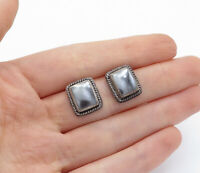 925 Sterling Silver - Vintage Hematite Twist Trim Square Drop Earrings - E8275