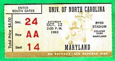 VINTAGE! 10/12/63 NORTH CAROLINA VS. MARYLAND FOOTBALL TICKET STUB