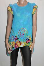 Unbranded Blue Floral Chiffon Short Sleeve Tunic Top Size S/M BNWT #TF10