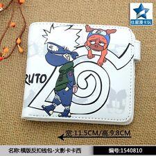 White Anime Naruto Shippuden PU Wallet/Hatake Kakashi Short Purse with Button