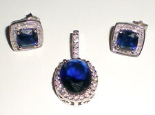 STERLING SILVER SAPPHIRE AND WHITE TOPAZ (or CZ) PENDANT AND EARRINGS - 5.5 g