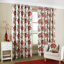"""90"""" x 90"""" EYELET CURTAINS TOKYO RED READY MADE LINED LUXURY QUALITY POLYCOTTON"""