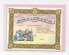 NEUF CARTE DIPLOME SECRETAIRE + ENVELOPPE  !! 10 CARTES ACHETEES = PORT GRATUIT