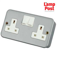 5 x Metal Clad Double Plug Socket 2 Gang Metalclad Outlet & Back Box - CL036