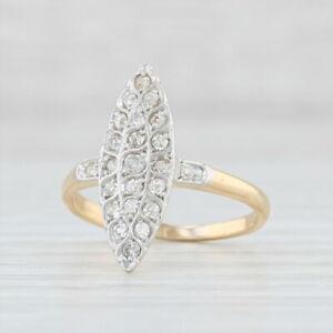 Antique Navette Diamond Ring 18k Gold Platinum Size 4.25 Halo