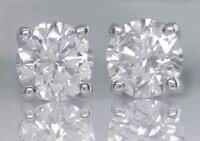 0.75ct Round Brilliant Cut F-Colour Diamond Solitaire Studs in 18ct White Gold