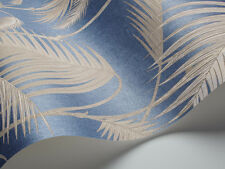 Cole & Son 'Palm Jungle' Wallpaper 95/1006 Blue/Straw