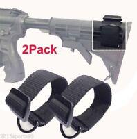 2x Universal Rifle Gun Shotgun Stock Single Point Sling Loop Adapter Strap BK #9