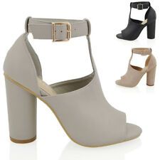New Womens Cylindrical Heel Ladies Cut Out Peep Toe Ankle Strap Shoe Boots
