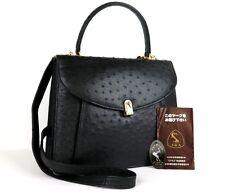 Genuine Ostrich Leather Shoulder Hand Bag Black JRA