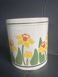 Vintage 1983 Nina Metal Can Tin Daffodil Greenhouse Flowers Canister Bin Box