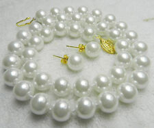 100% Real AAA 10mm White Sea South Shell Pearl Necklace Earrings Set 18''