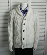 NEW Mens SZ 2XL ALPACA Ivory White Shawl Collar Cable Cardigan Knit Sweater PERU