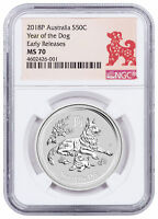 2018-P Australia Year of the Dog 1/2 oz Silver Lunar (S2) NGC MS70 ER SKU50368