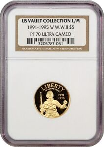 1991-95-W World War II $5 NGC PR 70 UCAM - Proof Modern Commemorative Gold