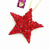 Red Crystal Pentagram Five Star Pendant Chain Betsey Johnson Necklace/Brooch Pin