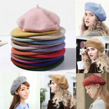 Wool Blend Beret Plain Ladies Womens Girls Boy Hat French Autumn Winter Warm Cap