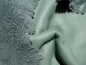 sheepskin shearling leather hide XL Slate Green curly plush hair w/smooth back