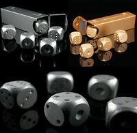 5pcs Solid Metal Dice Set Die Case Party Casino Games Poker Board Silver Gold