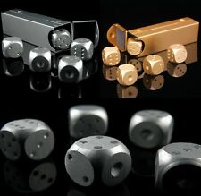 More details for 5pcs solid metal dice set die case party casino games poker board silver gold