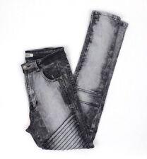 "REDFOX High Waist Skinny Moto Jeans, Gray Wash, Size 7 (26"" High Waist)"