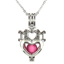"""K562 Silver 35mm I LOVE MOM Heart Pearl Beads Cage Necklace 18"""" -- Mother's Day"""