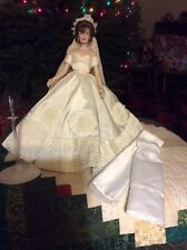 Franklin Mint 16 inch Jackie Kennedy, wedding gown and white gown and wrap