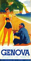 "Italy italian Genova  Vintage Illustrated Travel Poster art Print painting 36"""