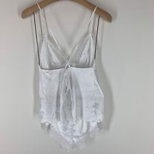 Victoria's Secret baby doll pajamas white satin sparkle lace  Size Large