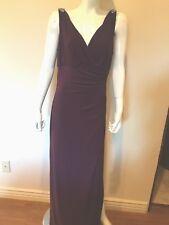 Lauren Ralph Lauren Rhinestone jersey V Neck Gown Dress 12 New $198