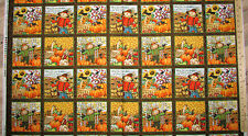 """Time to Harvest Fall Autumn Scarecrow Thanksgiving Fabric  23"""" Panel    #22827"""