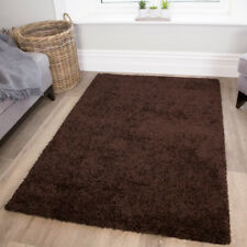 Solid Chocolate Brown Shaggy Rugs Dense Long Pile Non Shed Living Room Rug Cheap