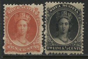Nova Scotia 1860 10 and 12 cents mint o.g. hinged