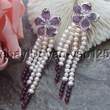 H071714  White Pearl Garnet Earrings  Cz Pave Flower Stud