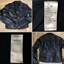 Topshop Size 10 Euro 38 Black Genuine Leather Biker Jacket Rock Chick Military