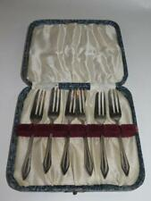 ART DECO Set of 6 Silver Plated Pastry Forks in Case 1920s
